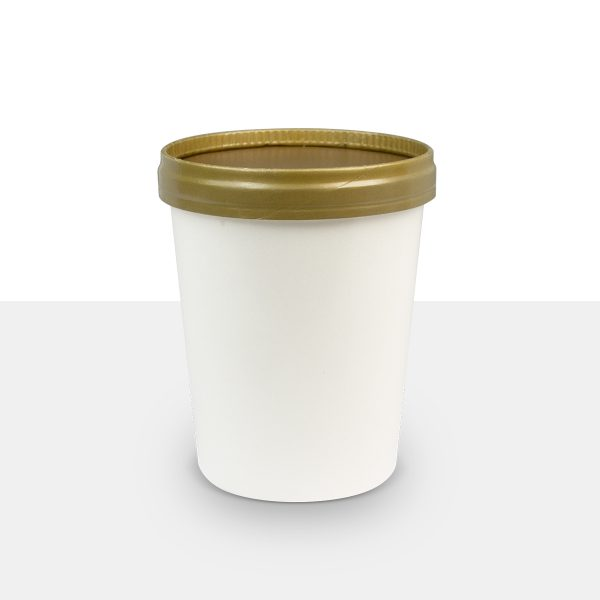 500ml Paper Cup with-paper Lid Gold